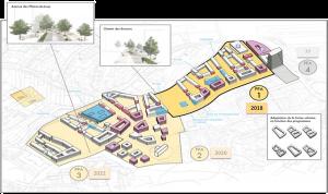 Répartition des étapes de l'écoquartier des Plaines-du-Loup